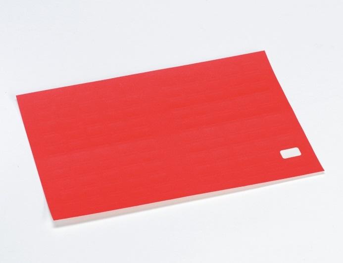 Etikett m/valgfri tekst, 15x10mm,rød, 50 stk.