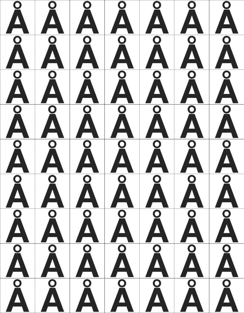 Etikett Å, 30 x 30 mm, 63 stk.