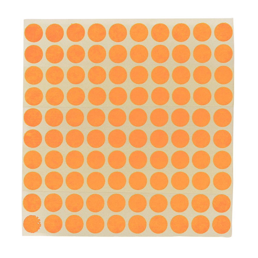 Etikett Ø 13 mm. oransje,100 stk.
