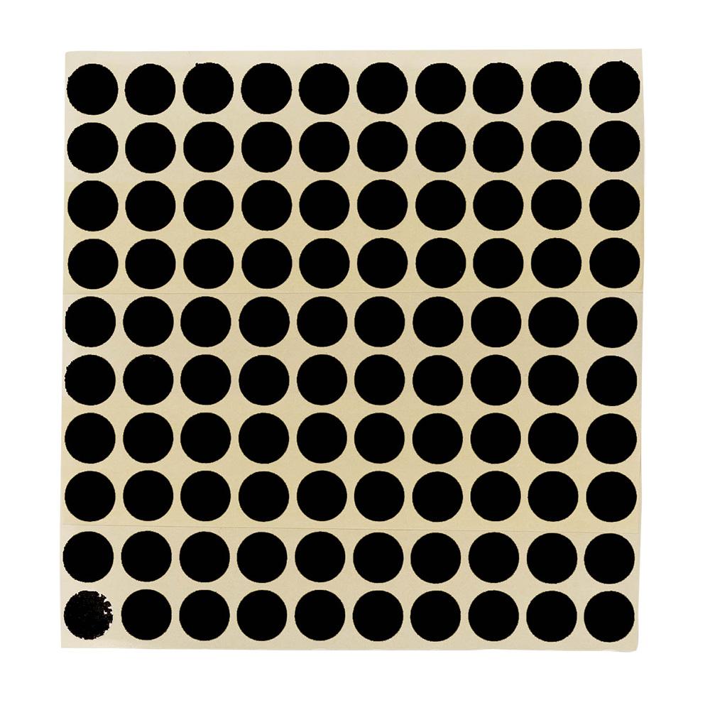 Etikett Ø 13 mm. svart, 100 stk.