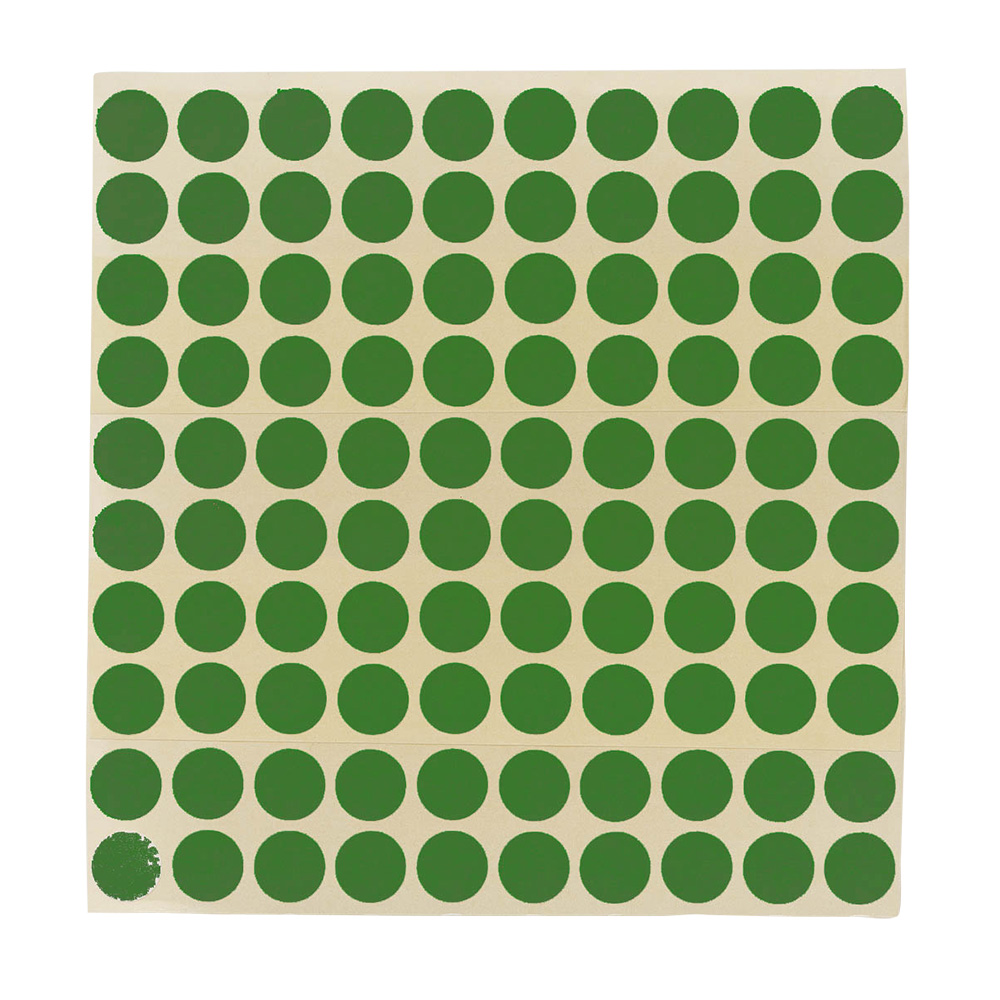 Etikett Ø13 mm. grønn, 100 stk.