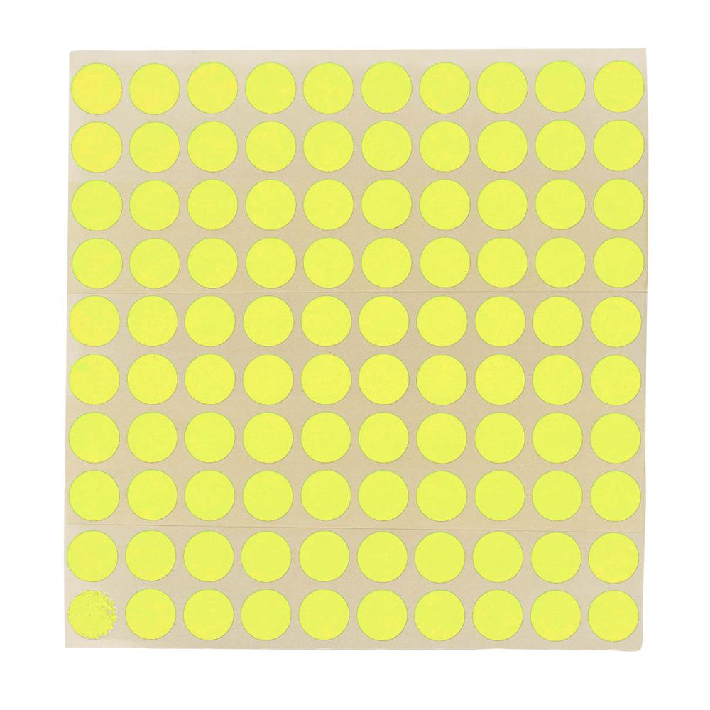 Etikett Ø 13 mm. gul, 100 stk.