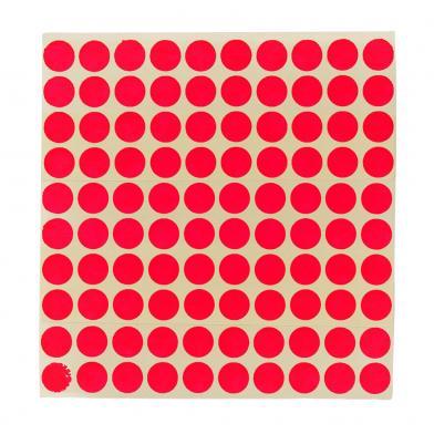 Etikett Ø13 mm. rød, 100 stk.
