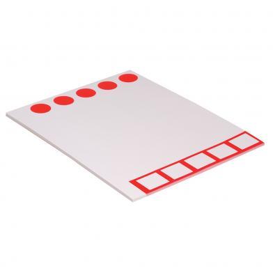 Etikett til blindbok, smal, løpebane, hvit/rød,100 stk.