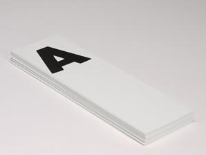 Etikett til blindbok, bred alf. 27 stk.