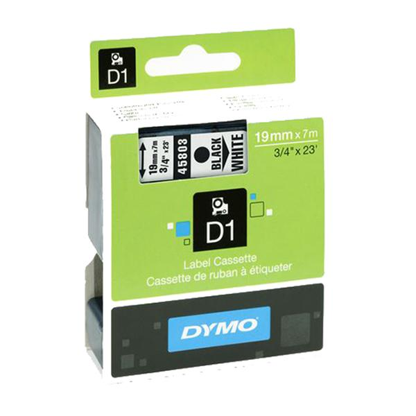 Dymo tape 19 mm, sort/hvit