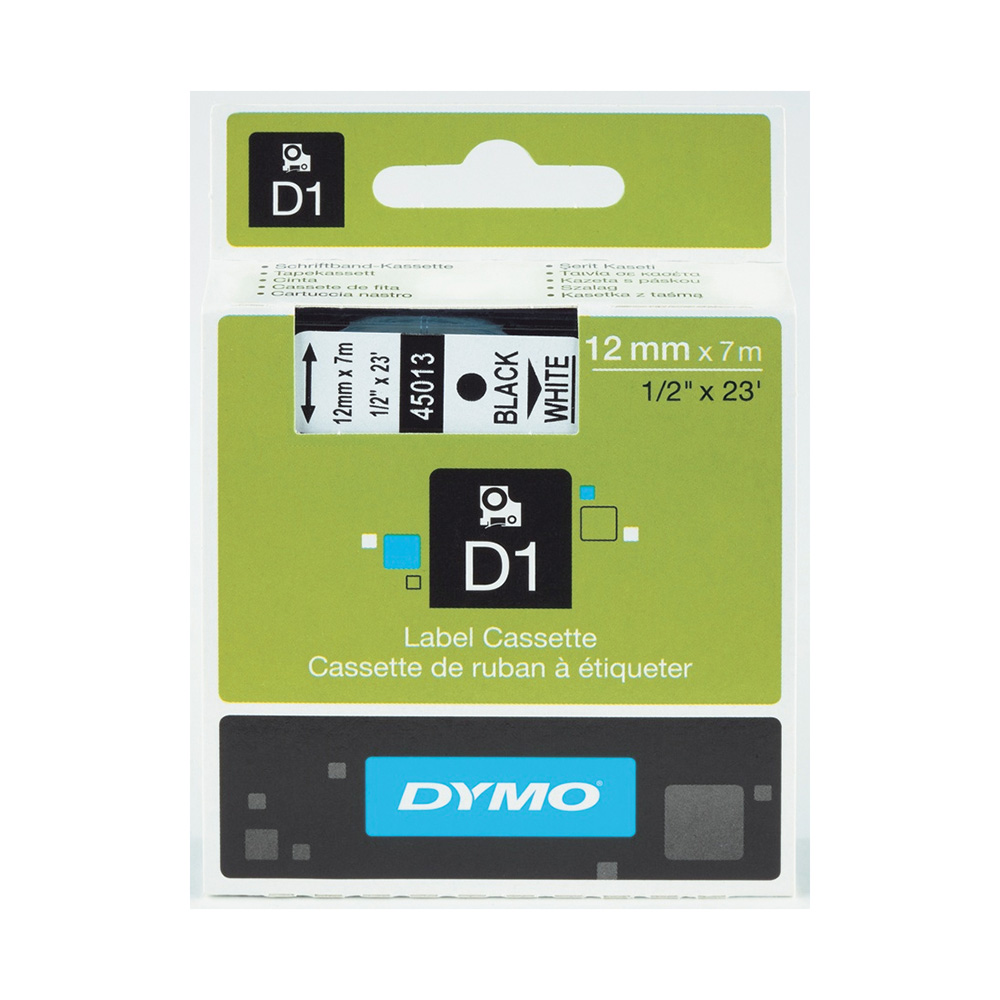 Tape Dymo D1, 12 mm x 7 m, sort/hvit