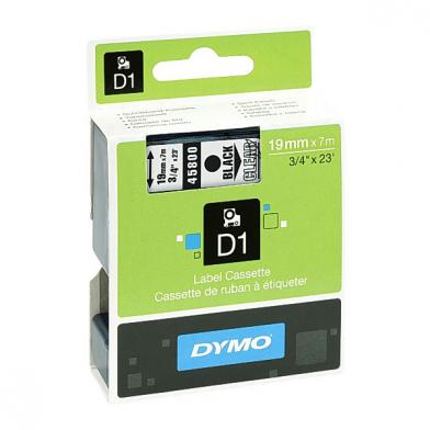 Tape Dymo D1, 19 mm, sort/klar