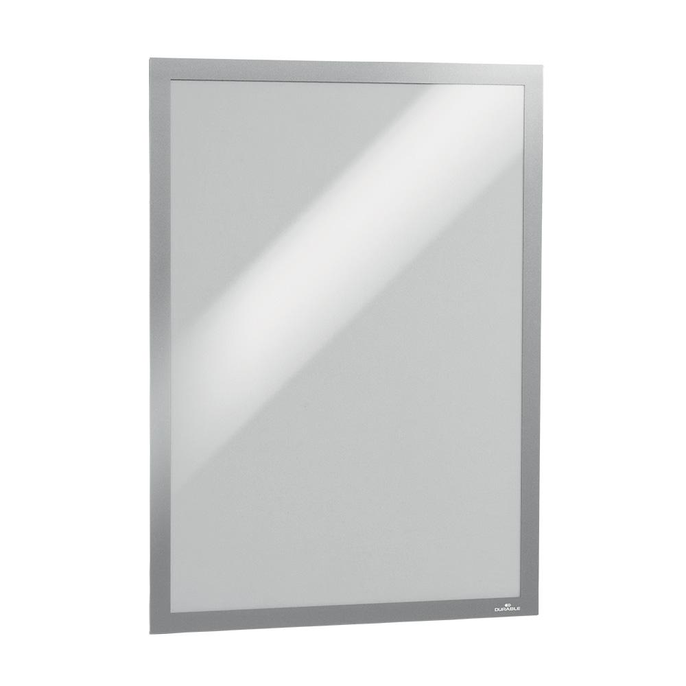 Skilt, selvkl. m/magnetramme A3, sølv, 2 stk.