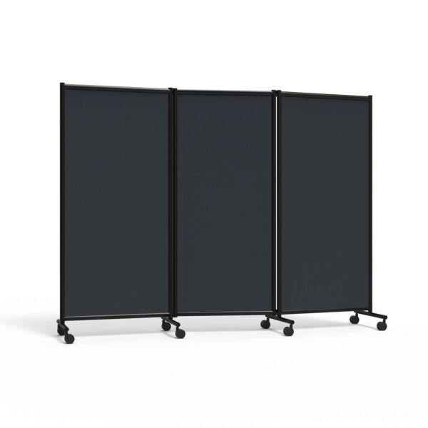 Utstillingsskjerm One, 3-delt, mørkegrå/sort