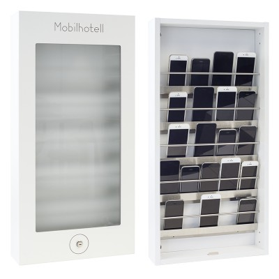 Mobilhotell, hvitt m/venstrehengslet dør m/lås