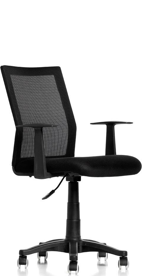 Basic kontorstol m/lener, svart