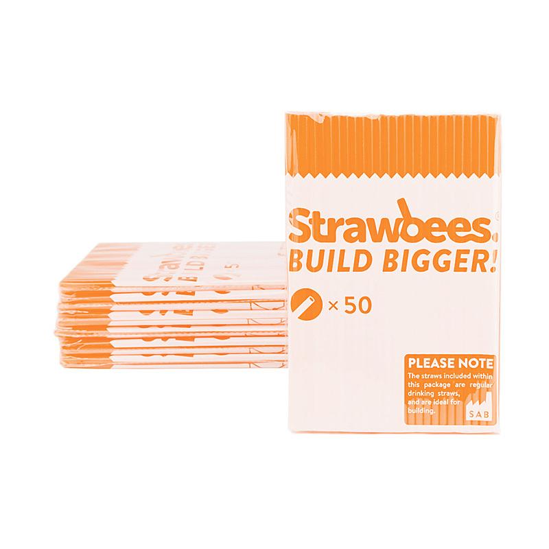 Strawbees sugerør, oransje, 50 stk.