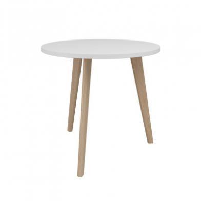 Bord, Ø700 x H600 mm, hvitlaserte eikebein