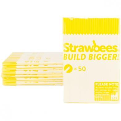 Strawbees sugerør, gule, 50 stk.