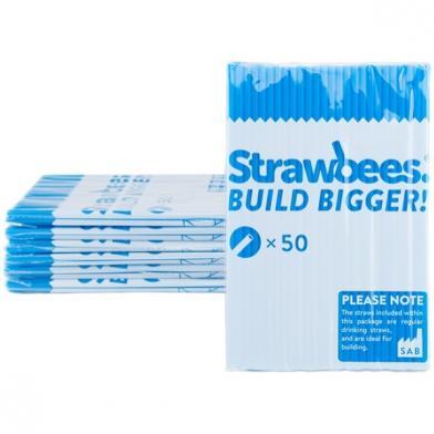 Strawbees sugerør, blå, 50 stk.