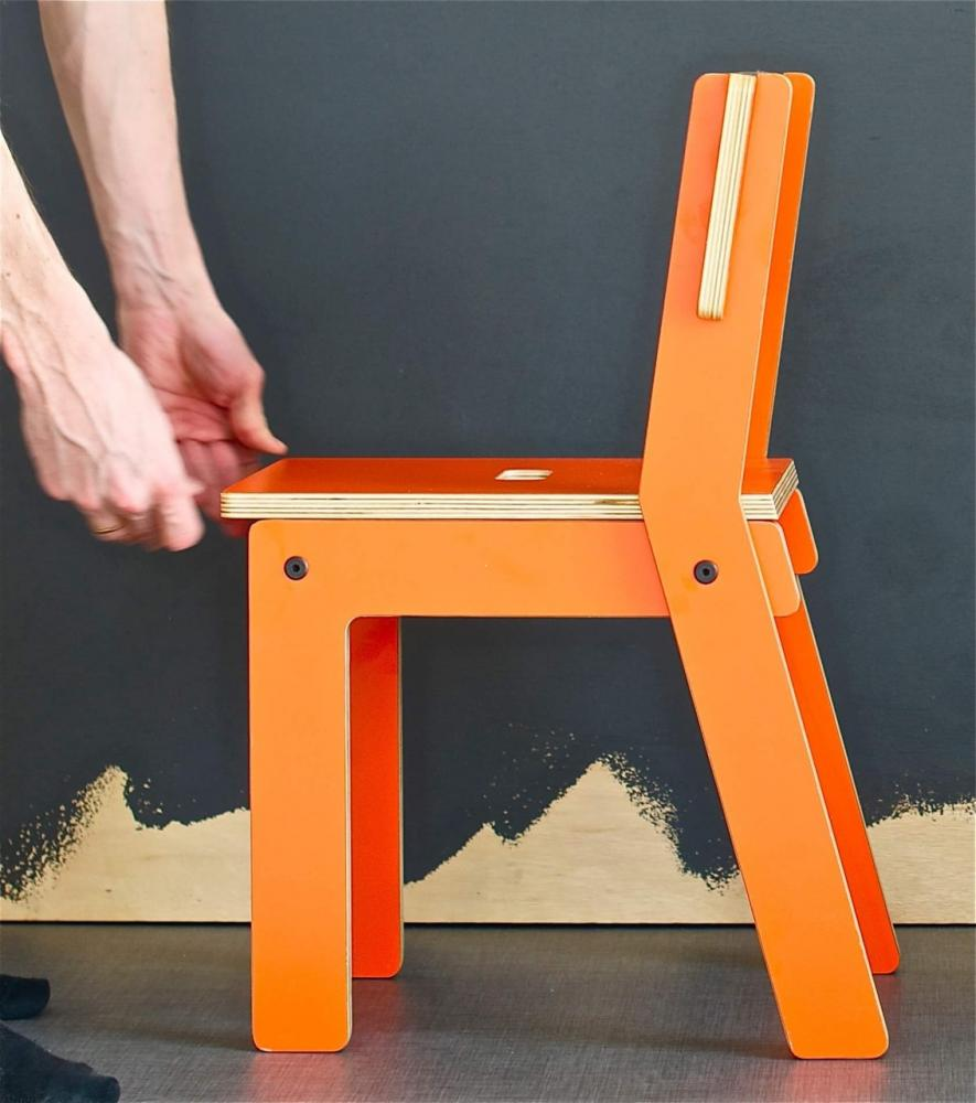 Stol Kinkeliane, laminat sete+rygg, oransje