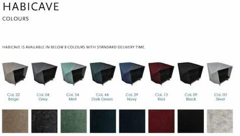 Fargekart Habicave standardfarger